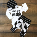 Baby Clothing Sets Infant Outfits Newborn Romper Suits 3PCS Striped Beanies Cotton Romper Print Full Pants Baby boys Clothes
