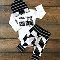 Ropa del bebé Fija Trajes Recién Nacido Infantil Del Mameluco Trajes 3 UNIDS Gorros Rayas Mameluco Del Algodón de Impresión Completa Pantalones niños bebés Ropa