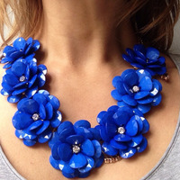 2014 Fashion Handmade Luxury Brand Discount Crystal Bubble Big Flower Necklaces Acrylic Beads Flowers Statement Necklace