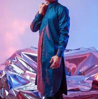 Синий сплошной Цвет постепенное изменение Bling Материал длинные Стиль Для мужчин куртка рубашка ночной клуб DS DJ певец этап Показать Тонкий к...