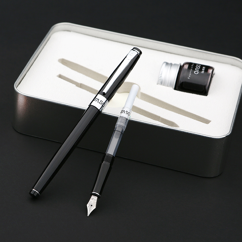 OASO S16 Luxury Metal Case Gift Set 0.38mm 0.5mm Two Nib Fountain Pen with a Bottle Ink Pens for Writing Free Shipping oaso a15 luxury black and silver clip double nib fountain pen set with original gift case 0 38mm 0 5mm pens for writing