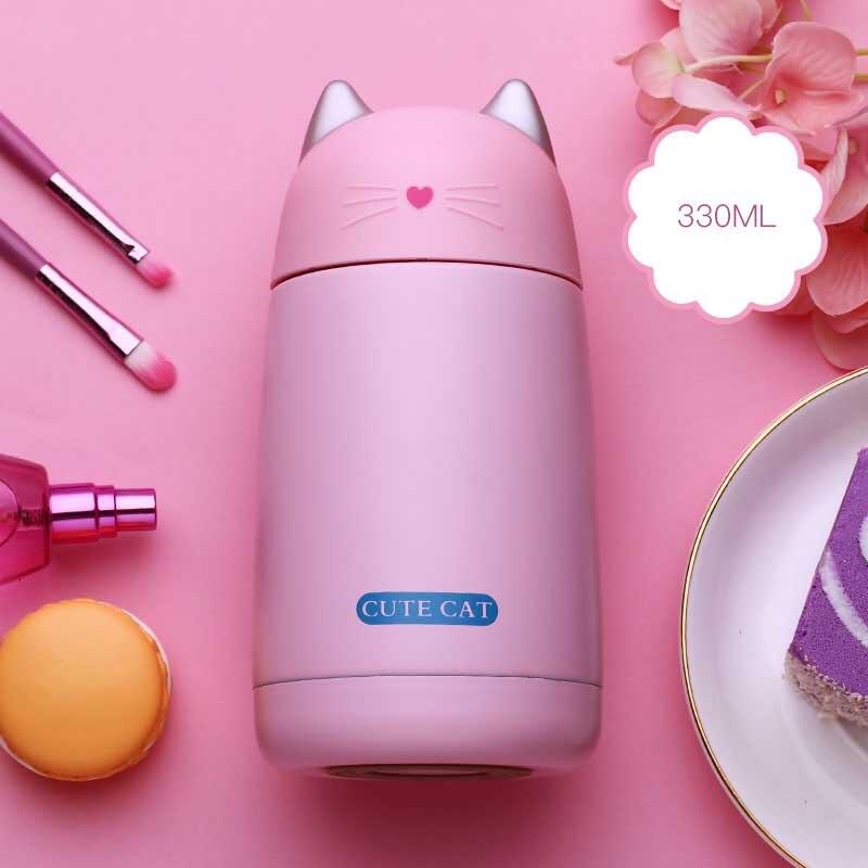 330 ml nuevo termo taza de gato de dibujos animados Thermo taza Drinkware botella de agua de acero inoxidable frasco de vacío taza, vaso de fugas prueba de vaso