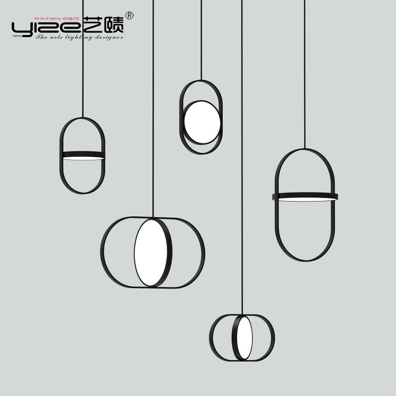 Linha moderna nordic luzes pingente designer sala de jantar quarto cabeceira restaurante arqueado anel pendurado lâmpadas luminária
