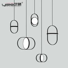 Скандинавские Современные линии подвесные светильники дизайнерская столовая прикроватная тумбочка для спальни Ресторан арочные гостиной кольцо подвесной набор ламп