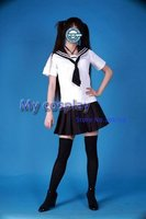 Sailor Cosplay Culture Uniform Costume For Female Halloween Party Costumes Sailor shirt + Short skirt + Tie Freeshipping