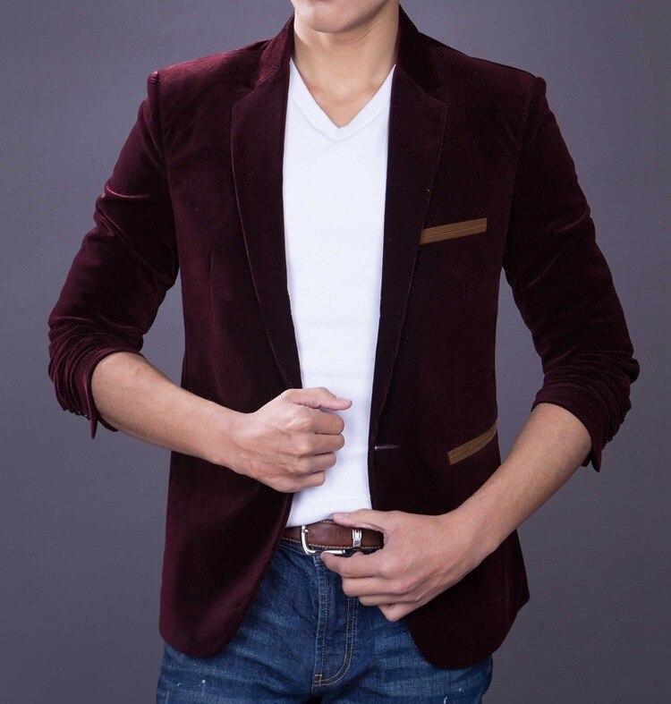 Meeste Slim Fit Velvet Suit Tuxedo jope Mees Kevad Sügis Must - Meeste riided - Foto 3