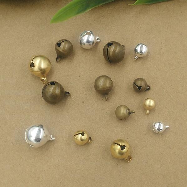 VINTAGE 12 TINY SMALL BRASS METAL BELLS *GREEN BEAD • 10mm 3//8th inch tall