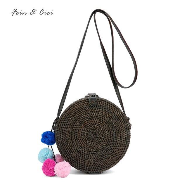 fa722b54a1 Straw Bags circle round Rattan Bag black tassel Beach bag Women Boho Bali Handbag  Summer 2018 new Handmade Crossbody bag