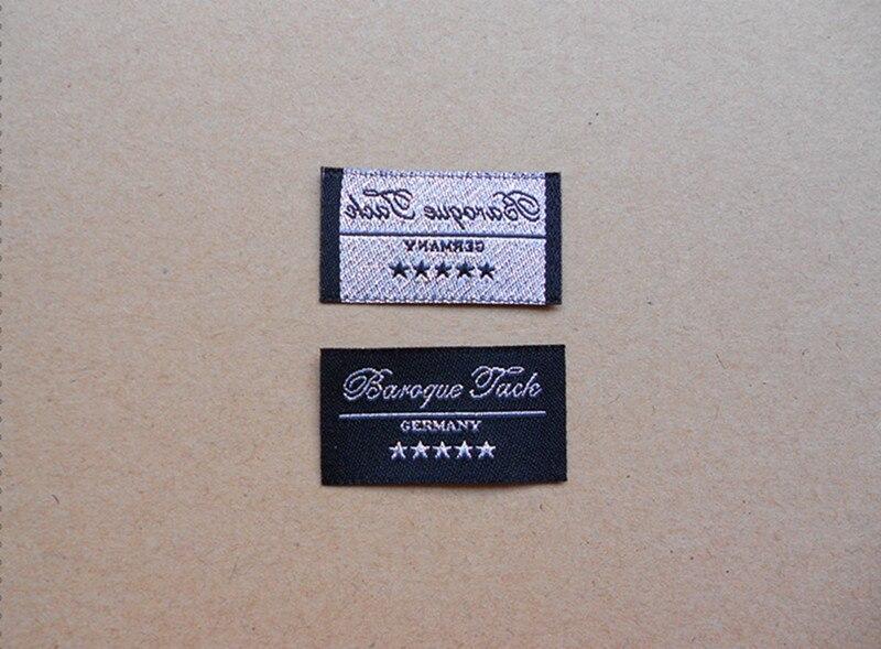 1000 pcs/pack personnalisé coupe droite tissé vêtement étiquette fil d'argent logo étiquettes fil d'or marque étiquettes pour vêtements