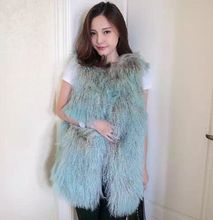 New Arrival Women Winter Fur Waistcoat Real Mongolia Sheep Fur Vest Gilet Femme