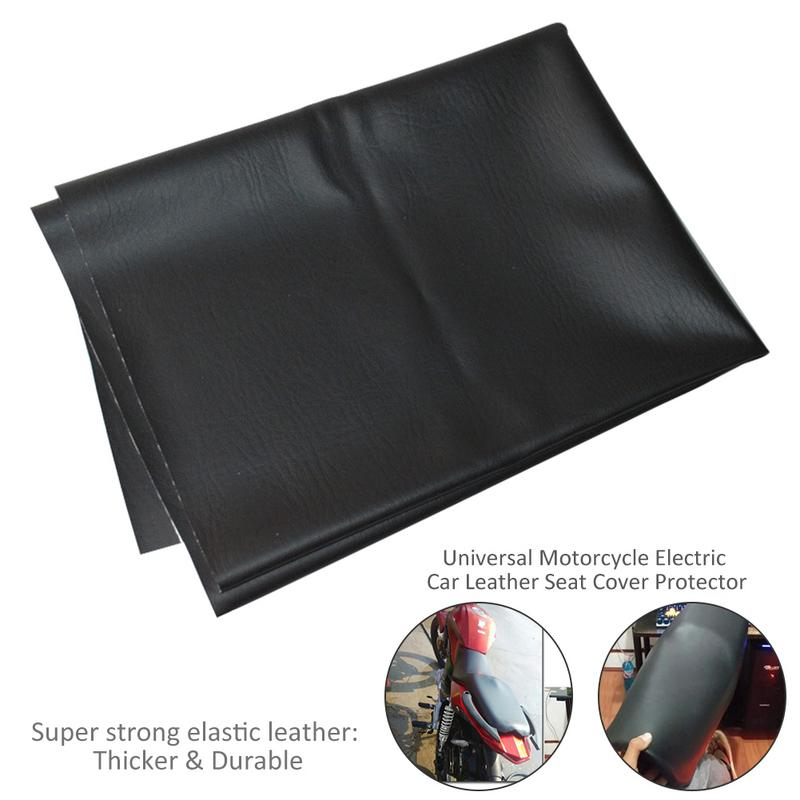 90 70cm Motorcycle Leather Seat Cover Wear-Resistant Universal Motorbike Scooter Electric Car Leather Seat Protector Black