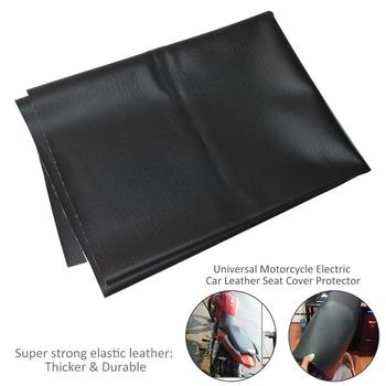 90*70cm Motorcycle Leather Seat Cover Wear-Resistant Universal Motorbike Scooter Electric Car Leather Seat Protector Black