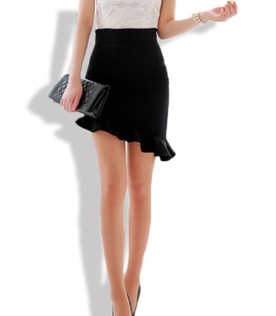 2017 Mujeres Sexy Asimetría Ruffles Falda Negro Elasticidad Faldas de Cintura Alta Más El Tamaño Grande S-3XL Sesgo Falda Apretada Delgada