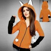 2018 Fox Sweatshirt Lady Hoodies Long Sleeve Cosplay costume Rabbit Ear Hooded Sweatshirts Women Autumn Hoodie Jacket Coat