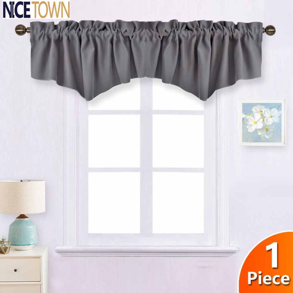NICETOWN Treatment Blackout Kitchen Christmas Curtain Dressed Up Ascot  Window Valance Rod Pocket 2 Panels