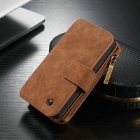 Multifunction Zipper Wallet Design Card Slots Leather Case For IPhone 5 5S SE Phone Back Coque