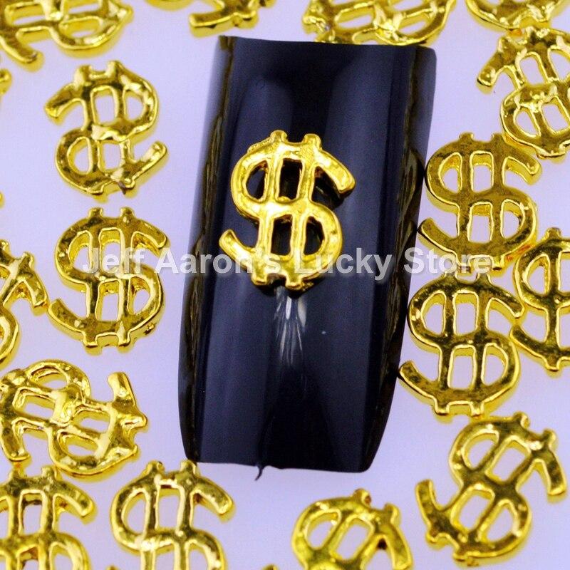 20 шт металлический 3d украшения для ногтей золотые полые ногтей Шарм ювелирные изделия аксессуары Знака Доллара