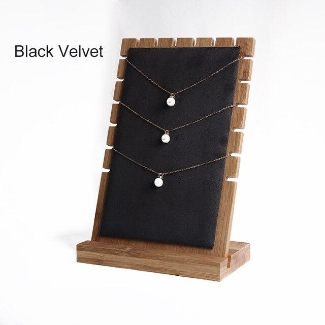 Yanhonin Support De Rangement De Bijoux en Bambou D/étachable Pr/ésentoir Collier Bois