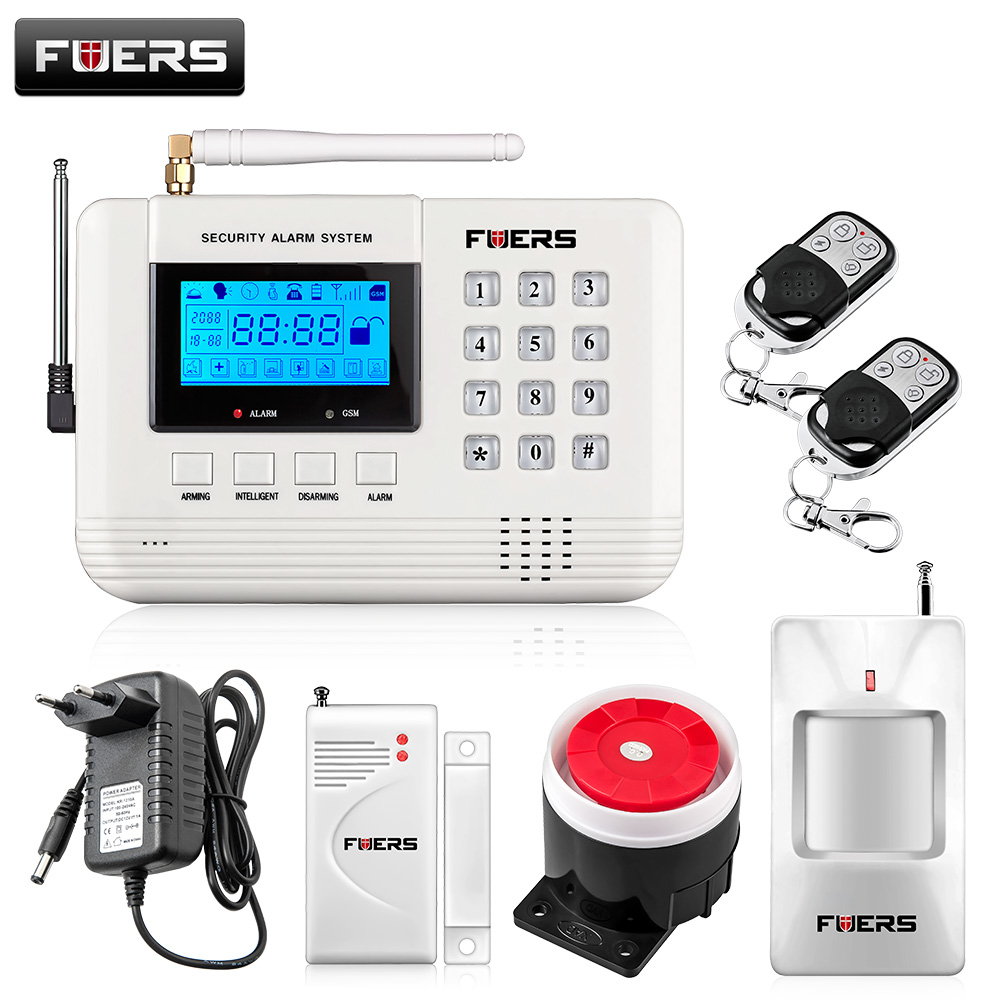 LCD Screen 433Mhz Remote Control Wireless GSM sms call PSTN phone line dual network Home Security gsm Alarm System 2 receivers 60 buzzers wireless restaurant buzzer caller table call calling button waiter pager system