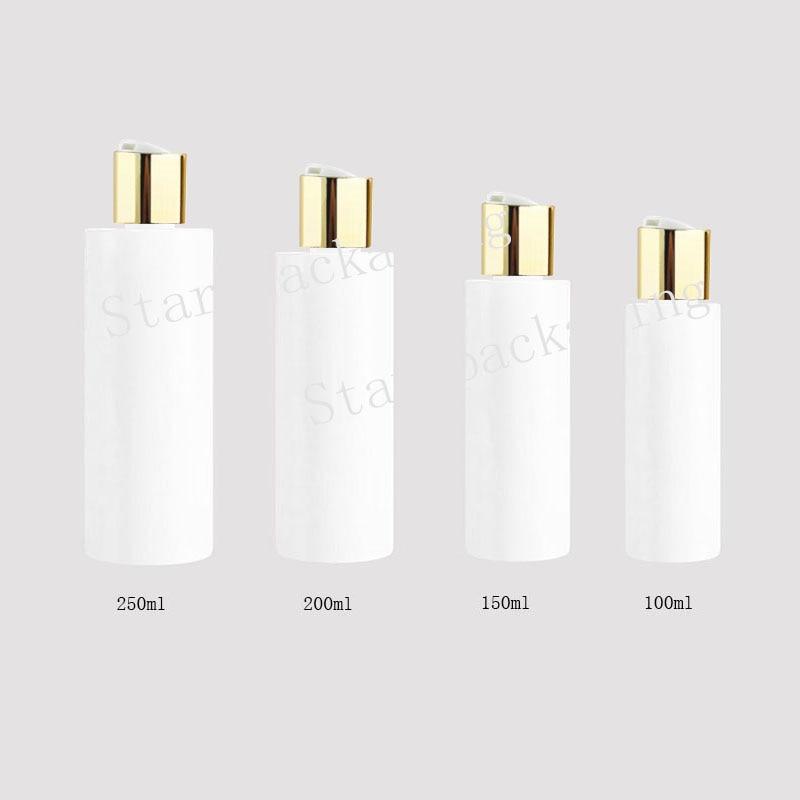 100/150/200/250ml garrafas plásticas brancas com tampão do disco do ouro, óleos essenciais cosméticos que empacotam a garrafa líquida do sabão do gel do champô