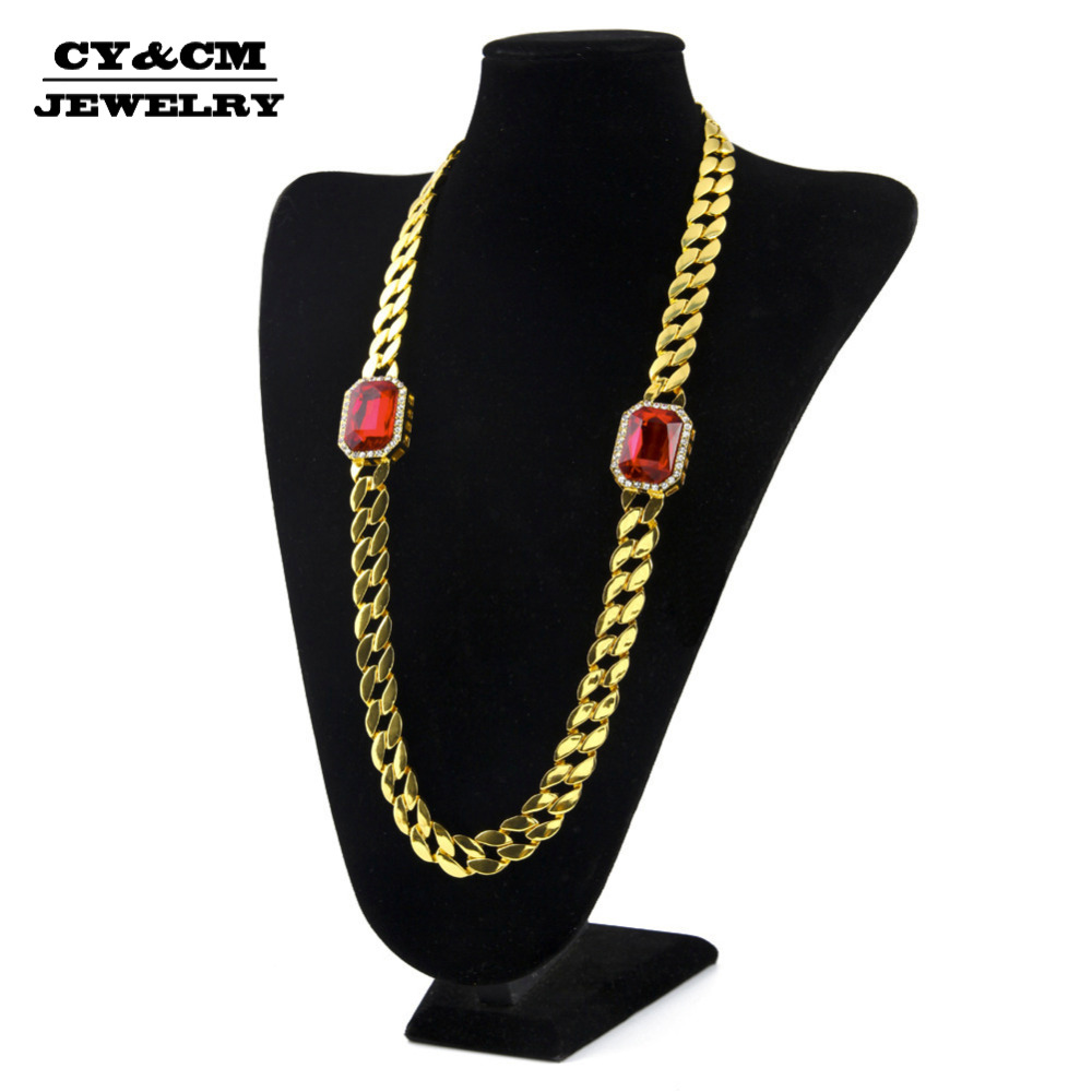 CY&CM Rapper HipHop Men Necklace Bling Iced out Gold Cuban Link Red Stone Rhinestone Crystal Long Miami Chain Punk Jewelry 30