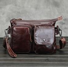 New Men Genuine Leather Multi-pocket Handbag Shoulder Bag