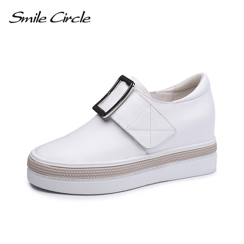 Smile Circle Autumn women Wedges sneakers High Heel Platforms casual shoes metal button Women Genuine Leather Elevator shoes genuine leather shoes fashion2017 new autumn women wedges shoes high heel platforms for women casual shoes pumps elevator women