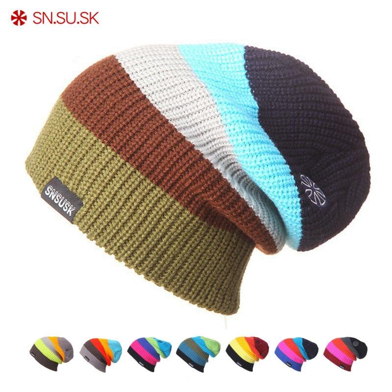 SN.SU.SK Men Women Warm Caps Winter Hats Knitting Skating Skull Caps For Woman Turtleneck Beanies Ski Hat Snowboard Cap