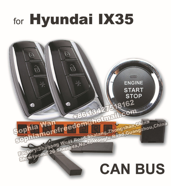 For Hyundai Ix35 Can Bus Plug Play Car Alarm Push Button Start Smart