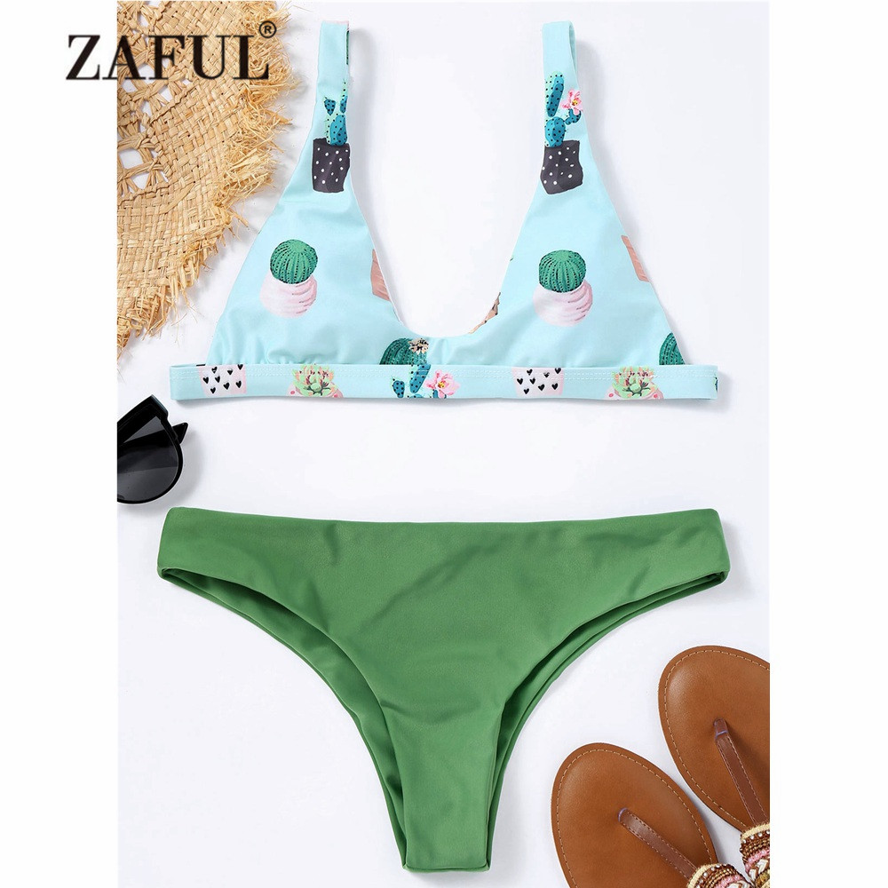 ZAFUL Mew Bikini Cactus Print Low Waisted Bikini Set Swimwear Women Swimsuit Low Waist Padded Spaghetti Straps Bathing Suit straps padded print bikini