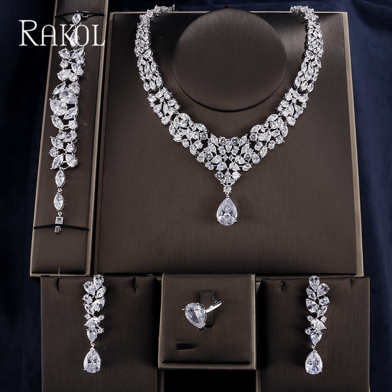 RAKOL Exquisite Cubic Zirconia Water Dorp Bracelet Earring Necklace Rings For Women Elegant Dinner Dress Jewelry Set RS52367P-in Jewelry Sets from Jewelry & Accessories    1