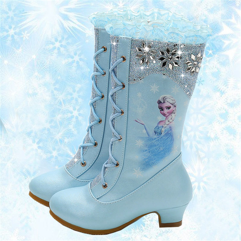 2018 autumn and winter new high boots girls princess high heeled children sequins snow boots Frozen