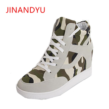 Women Camo Platform Boots Lace Up Height Increasing Shoes Round Toe Canvas Botas Korean Ankle Boots Wedge Footwear Size 35-40 стоимость