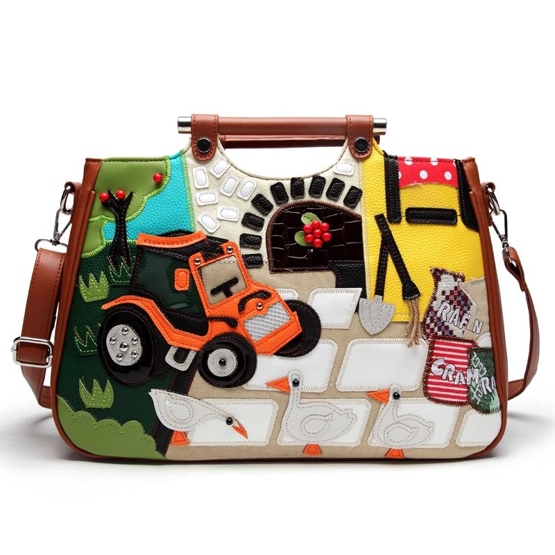 SJ Women Leather Patchwork Embroidery Shoulder Bags Female Messenger Bag Handbag Totes Braccialini Style Cartoon Stitching Farm