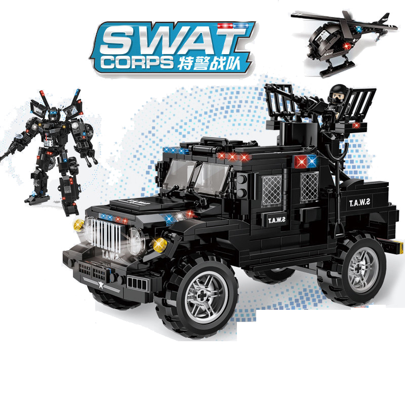 648pcs Children s educational building blocks toy Compatible city SWAT team 2in1 Wrangler armed off road