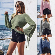 Women knitted pullovers round collar strap sweater Shirt winter and clothing Fashion Casual Beach style Loose