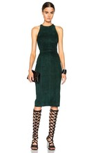 Celebrity Top Quality Off The Shoulder Green Leather Dress Cocktail Party Sexy Dress