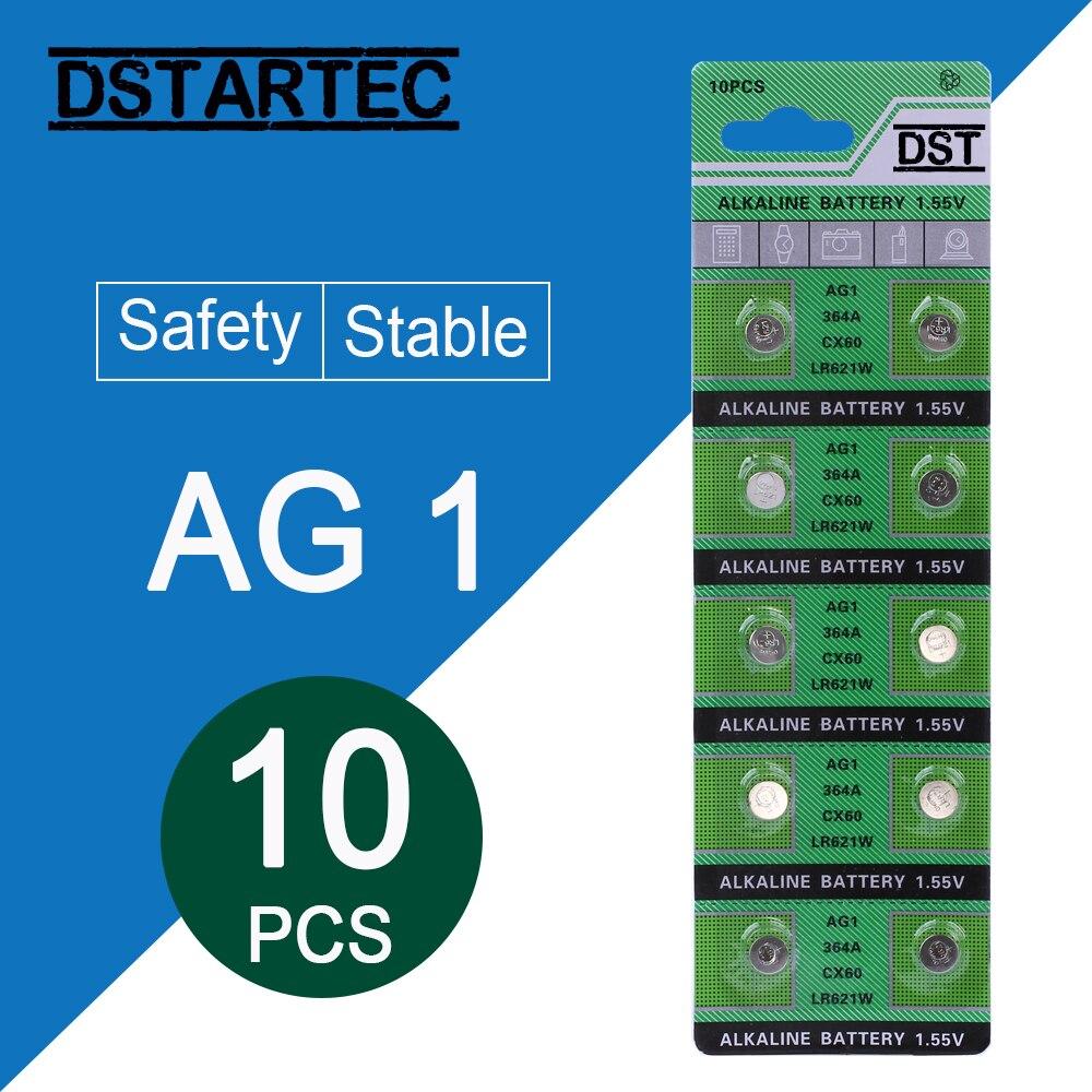 10pcs 30mAh 1.55V AG1 LR621 364 164 531 SR621 SR621SW SR60 SP364 TR621 Button Batteries For Watch Toys Remote Cell Coin Battery