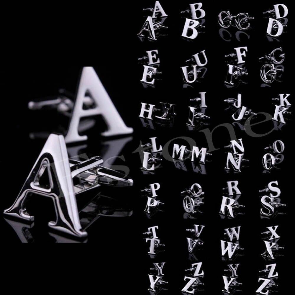 1 Para A Bis Z Neuheit Person Angepasst Initialen Buchstaben Silber Männer Der Manschettenknöpfe