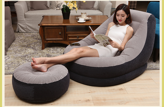 Adults 290 cm inflatable faux suede art sofa bed. Single contracted and contemporary nap. Lazy sofa