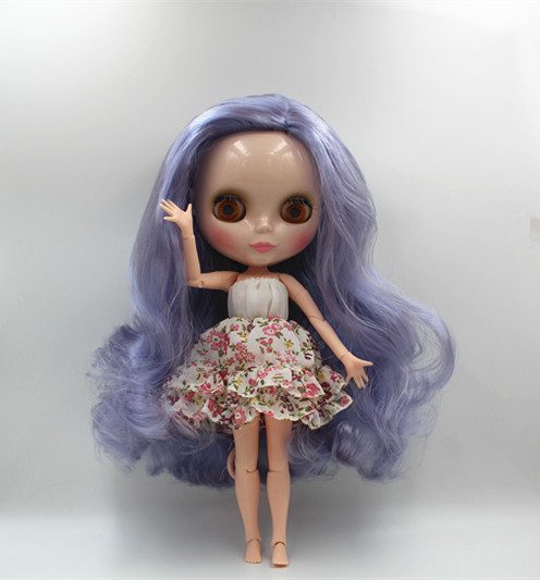 Blygirl Blyth doll Purple wave curls doll NO.005BL3854 joint body 19 joints normal skin blygirl blyth doll golden wave curls doll no 31bl74 joints body 19 joints normal skin the hand can be rotated