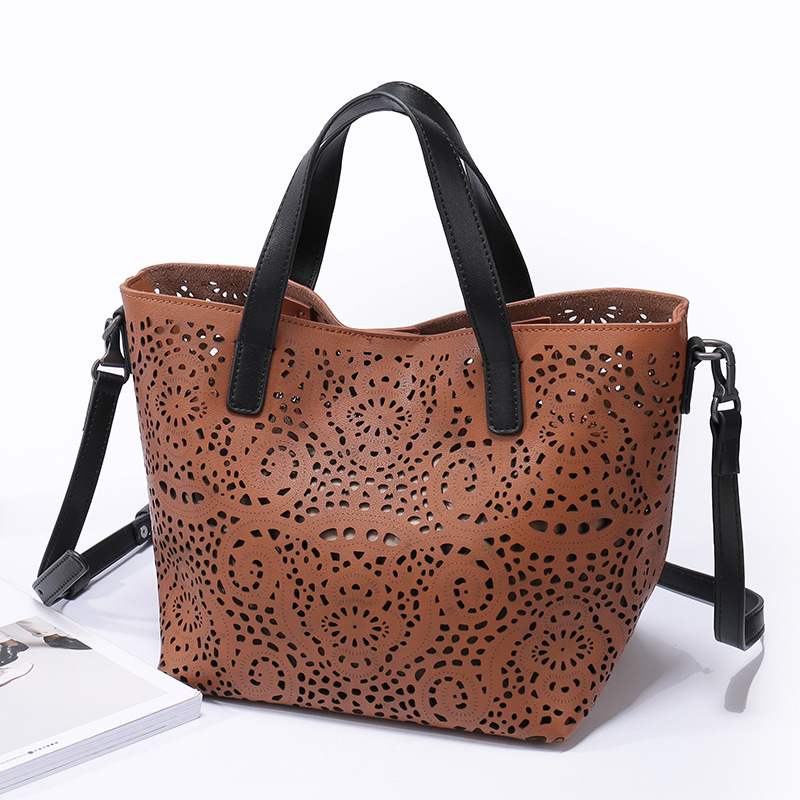 Vintage Hollow Out Brand Designer Genuine Leather Women Handbags Fashion Casual Shoulder Messenger Bag Cowskin Tote Shopping Bag 2017 new arrival designer women leather handbags vintage saddle bag real genuine leather bag for women brand tote bag with rivet