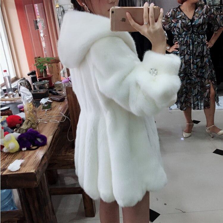 2018 Manteau Femelle En Capuche Vague Importé Ourlet De Queue Fourrure À White Hiver Vison Nouveau qqRxart7