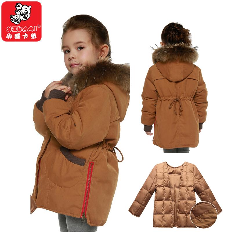 2017 NEW -30 Degree Winter Detachable Thicken White Duck Down Girl Jacket Toddler Parkas Fur Hooded Child Outerwear For 3-12 Age a15 girls jackets winter 2017 long warm duck down jacket for girl children outerwear jacket coats big girl clothes 10 12 14 year