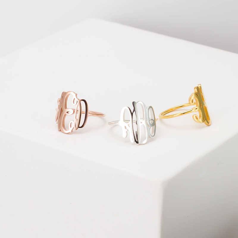 خواتم بوهو مونوغرام من الفولاذ المقاوم للصدأ بالأحرف الأولى المخصصة خاتم مخصص باللون الفضي والوردي والذهبي مجوهرات أنيلوس قوطية عتيقة