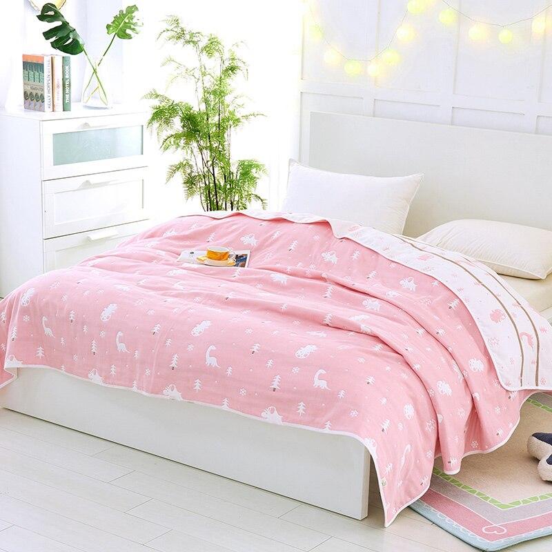 2018 dinosaure rose enfants fil serviette couvertures été tricoté couette coton tissu climatisation sieste couette