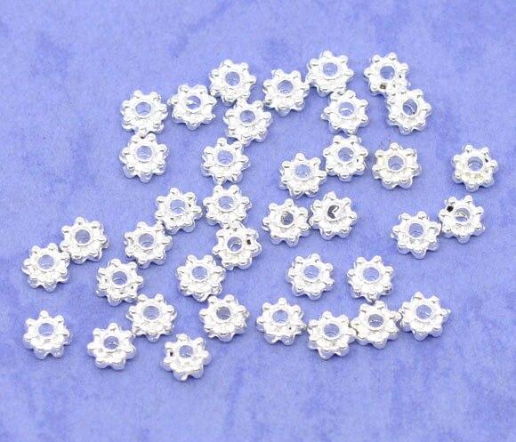X 4mm 1/8 1/8 1mm Zink Metall Legierung Spacer Perlen Blume Silber Überzogene Farbe Überzogen Über 4mm Loch: Ca 90 Stücke Neue Mit Traditionellen Methoden