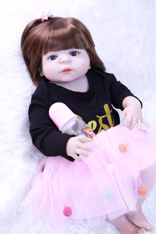 "NPK 23/"" Body Silicone Cotton Reborn Baby Long Hair Soft Vinyl Lifelike Newborn"