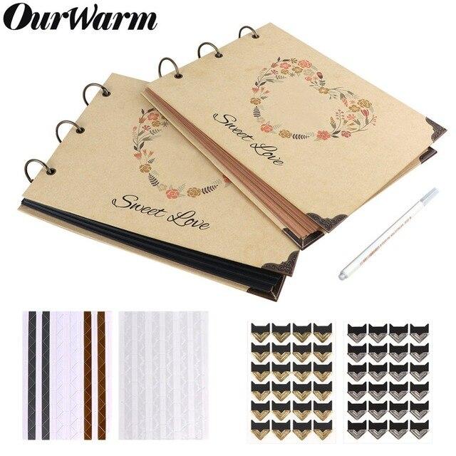 OurWarm 60 דפים DIY חתונה אלבום תמונות קראפט נייר ספר אורחים יום נישואים יום הולדת מתנות נסיעות זיכרון ספר אלבום Scrapbook