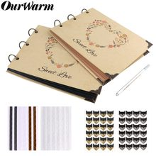 OurWarm 60 Pages DIY Wedding Photo Album Kraft Paper Guest Book Anniversary Birthday Gifts Travel Memory Book Album Scrapbook(China)